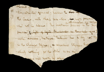 An extract from Thomas Carlyle's manuscript of The French Revolution at Carlyle's House, 24 Cheyne Row, London