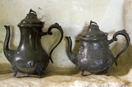 Two lustre teapots in the niche in the Parlour at Plas yn Rhiw, Pwllheli, Gwynedd