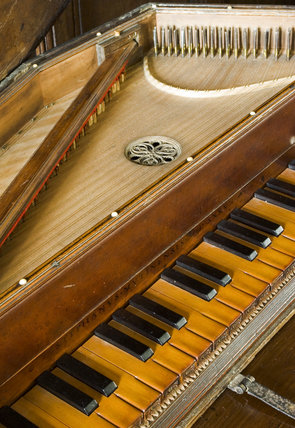 Close view of the keyboard of the late-seventeenth or early-eighteenth century spinet by Stephanus Keene of London, in the Music Room at Westwood Manor, near Bradford-on-Avon, Wiltshire