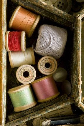 Cotton reels in the needlework box in the Parlour at Plas yn Rhiw, Pwllheli, Gwynedd