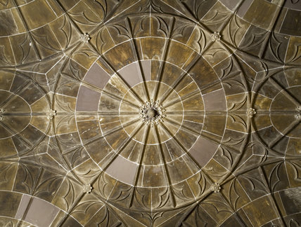 Part of the late eighteenth-century twelve-fan vaulted ceiling in the Front Hall at Coughton Court, Warwickshire