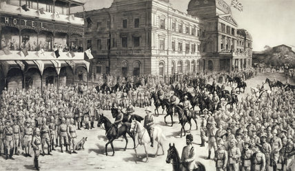 George Abraham Gibbs in THE ENTRY INTO PRETORIA, a print by Lowes Dickinson, at Tyntesfield