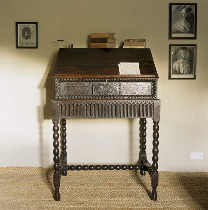 Upright writing desk in the Study at Woolsthorpe Manor