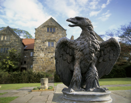 Close-up of one of the eagles atop the garden steps, of Washington Old Hall, they were a bicentennial gift