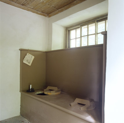 Room view of the outside lavatory used by domestic staff at Llanerchaeron
