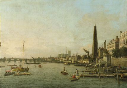 VIEW OF THE THAMES NEAR WESTMINSTER, by Giovanni Antonio Canale, called Canaletto, 1697-1768, in the Breakfast Room at Penrhyn Castle, showing Westminster Abbey