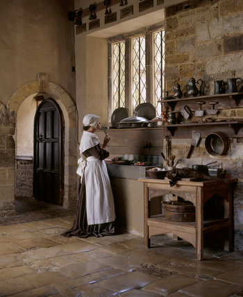 A pensive kitchen maid is smelling a spring of rosemary at the sink