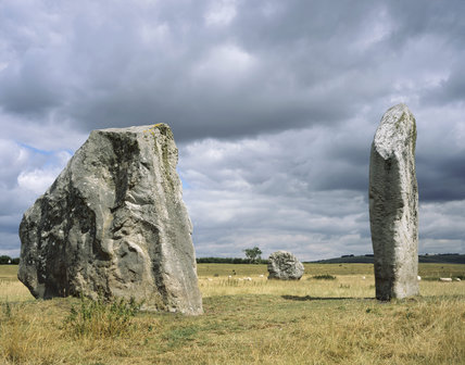 Spectacular view of the standing stones at the Cove, Avebury in Wiltshire