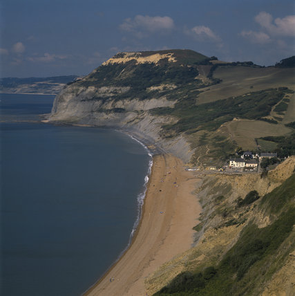Golden Cap seen from Ridge Cliff, with Seatown below In Search of Neptune, page 82