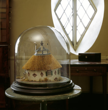Mid 19th-century model of A la Ronde by Lucius Reichel showing the house before alteration to the roof