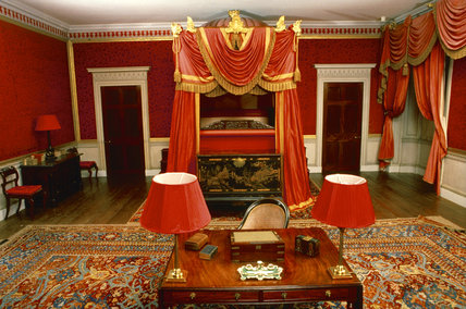 The state bedroom at Castle Coole, showing the state bed after restoration