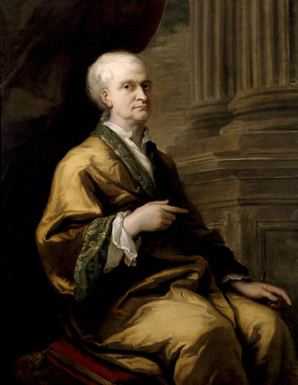 ISAAC NEWTON, a portrait by Sir James Thornhill (1675-1734) painted c.1709-12, in the Study at Woolsthorpe Manor.