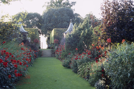 Long view from the Red Border at Hidcote looking past the pav- ilions and clipped hornbeam hedges towards the Terrace