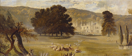 TYNTESFIELD FROM THE PARK - A view showing the house before John Norton's remodelling, and the early terrace gardens