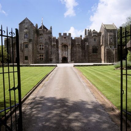 Looking through the gates to the front of Compton Castle
