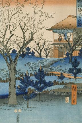 JAPANESE GARDEN original print by HIROSHIGE (d. 1858)