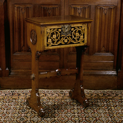 Inlaid teapoy designed by Pugin for Janet Kay-Shuttleworth c. 1850