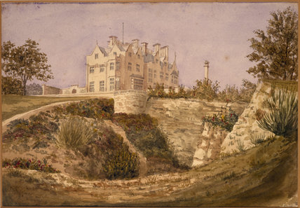 SCOTNEY CASTLE GARDEN, painting of the new castle from below the quarry
