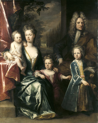 EDWARD DRYDEN AND HIS FAMILY by Jonathan Richardson c. 1715