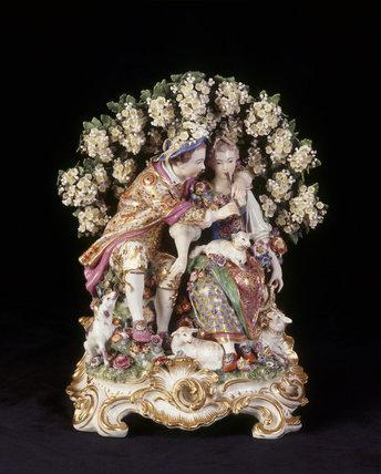 Close view of Chelsea porcelain figures,