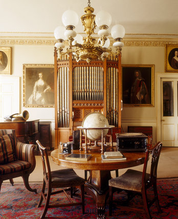 The Entrance Hall (Music Room) at Erddig with the chamber organ, purchased in 1865, made by Bevington & Sons