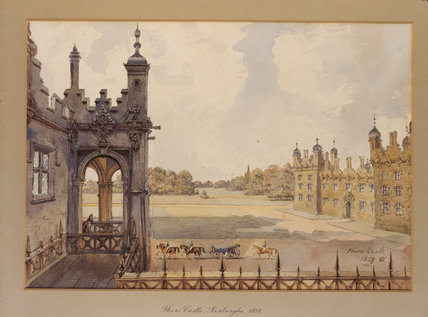 THE COURTYARD AT FLOORS CASTLE, KELSO a watercolour by Rebecca Dulcibella Orpen (1830-1923), one of a series painted during country house visits in the 1850s