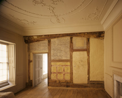 The Spenser Room at Canons Ashby showing Elizabethan wall murals, pre-restoration