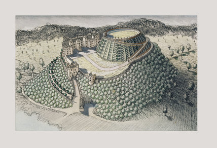 An ink and pastel illustration of Dunster Castle by Stephen Biesty showing the development of the castle site