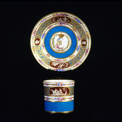 Close view of Sevres Coffee Can (gobelet litron) and Saucer from the Catherine II Service dated 1778 in the Porcelain Lobby at Upton House