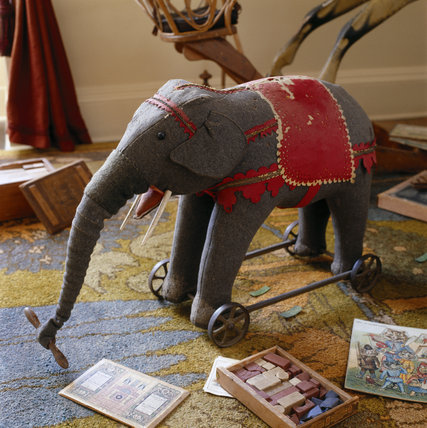 The Nursery at Berrington Hall showing some of the toys donated by local people, including the stuffed pullalong elephant, bricks and books
