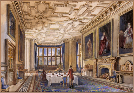 THE DINING ROOM AT FLOORS CASTLE, Duke of Roxburghe's, 1858, by Dulcibella Orpen at Baddesley Clinton