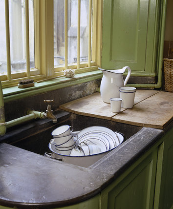 One of the wooden sinks with lead surrounds in the Butler's Pantry at Tyntesfield