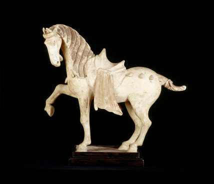 Close view of Chinese ceramic horse of the T'ang Dynasty, A.D.618-906