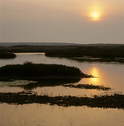 The morning sunlight glimmers over the Cobra Mist site at Orford Ness