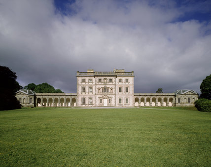 The Entrance (East) Front of Florence Court, with foreboding clouds on the horizon