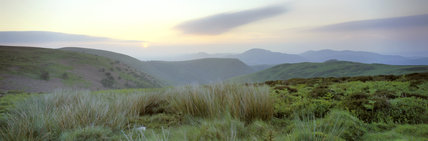 Panoramic view taken at sunrise of the Long Mynd at the head of Carling Mill Valley, Shropshire