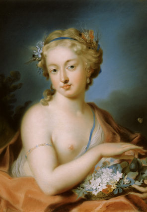 Part of the FOUR SEASONS SET at Peckover House, a painting by Rosalba Carriera, showing a blond haired girl with blue robe half turned to the right with a basket of fruit and flowers