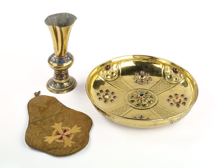 A chalice, chalice veil and paten from the Chapel at Tyntesfield