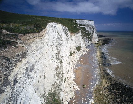 View of the cliff top and edge at Langdon Cliffs, with the beach below