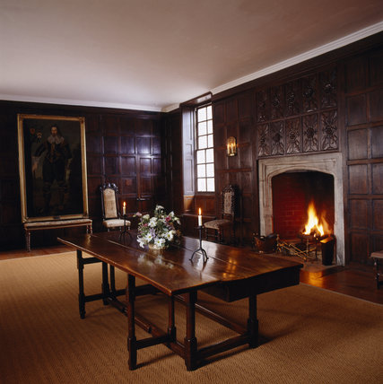 Room view of the Great Chamber looking towards the full length painting of Sir Ralph Sadler (1507-87)