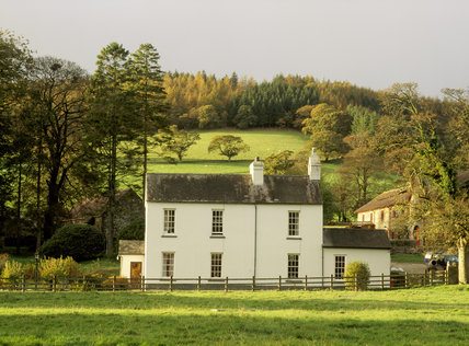 The Dolaucothi Farmhouse on the Estate, viewed in the afternoon
