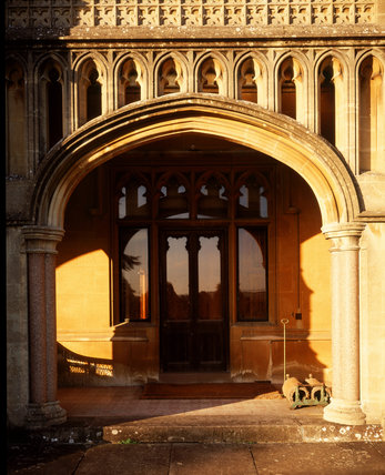 A Door With Windows Surrounding It On The South Front Of Tyntesfield Victorian Gothic Revival House Designed Between 1863 And 1866 By John Norton In