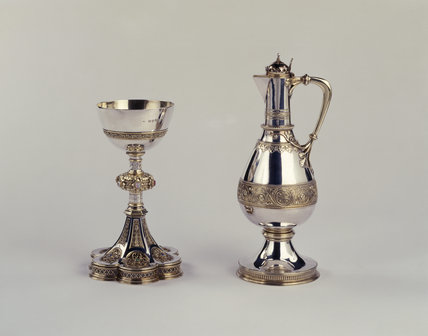 Chalice & altar jug designed by William Butterfield, 1876 in the Chapel at Tyntesfield