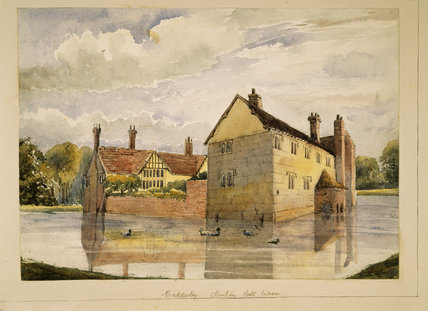 BADDESLEY CLINTON HALL by Rebecca Dulcibella Orpen (1830-1923) with ducks swimming on the moat