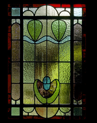 Close Up View Of The Stained Glass Window Found In The