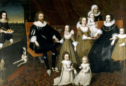 SIR THOMAS LUCY (d.1640) AND ALICE SPENCER, LADY LUCY (d.1648) WITH SEVEN OF THEIR THIRTEEN CHILDREN, said to be after Cornelius Johnson (Jonson).