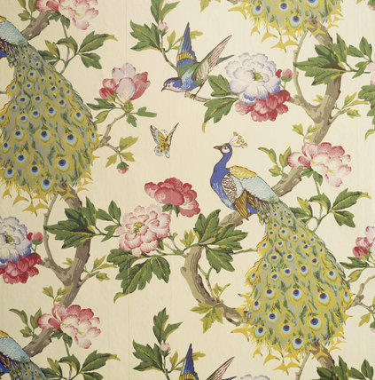 detail of the peacock wallpaper in the lobby near the red bedroom