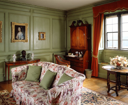 Lady Vernon S Sitting Room Decorated In Cool Green Sage