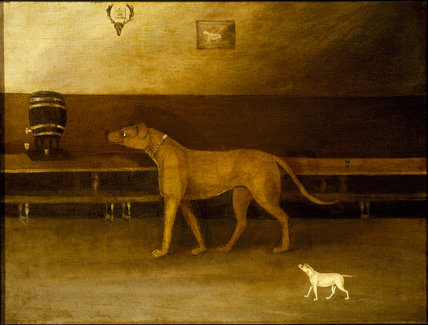 A MASTIFF WITH PUPPY, English 18th Century, from Dunham Massey by an amateur artist, probably painted at Dunham; the vat can still be seen in the south passage