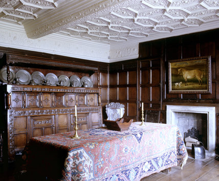 The Dining Room At East Riddlesden Hall West Yorkshire Showing The Table Fi